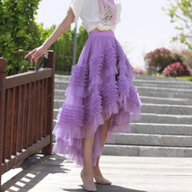 High-low Layered Tulle Skirt Outfit Plus Size Wedding Outfit Purple Tiered Skirt image 1