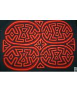 Kuna Geometric Abstract Art Mola Hand stitched Applique Brain Coral maze... - $66.49