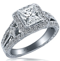 2.50 Carat (1.65) Vintage Princess Cut Diamond Engagement Ring 14k White... - €5.994,36 EUR