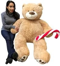 Christmas Big Plush Giant Teddy Bear 5 Foot Tan Soft Holding Plush Candy... - $117.11