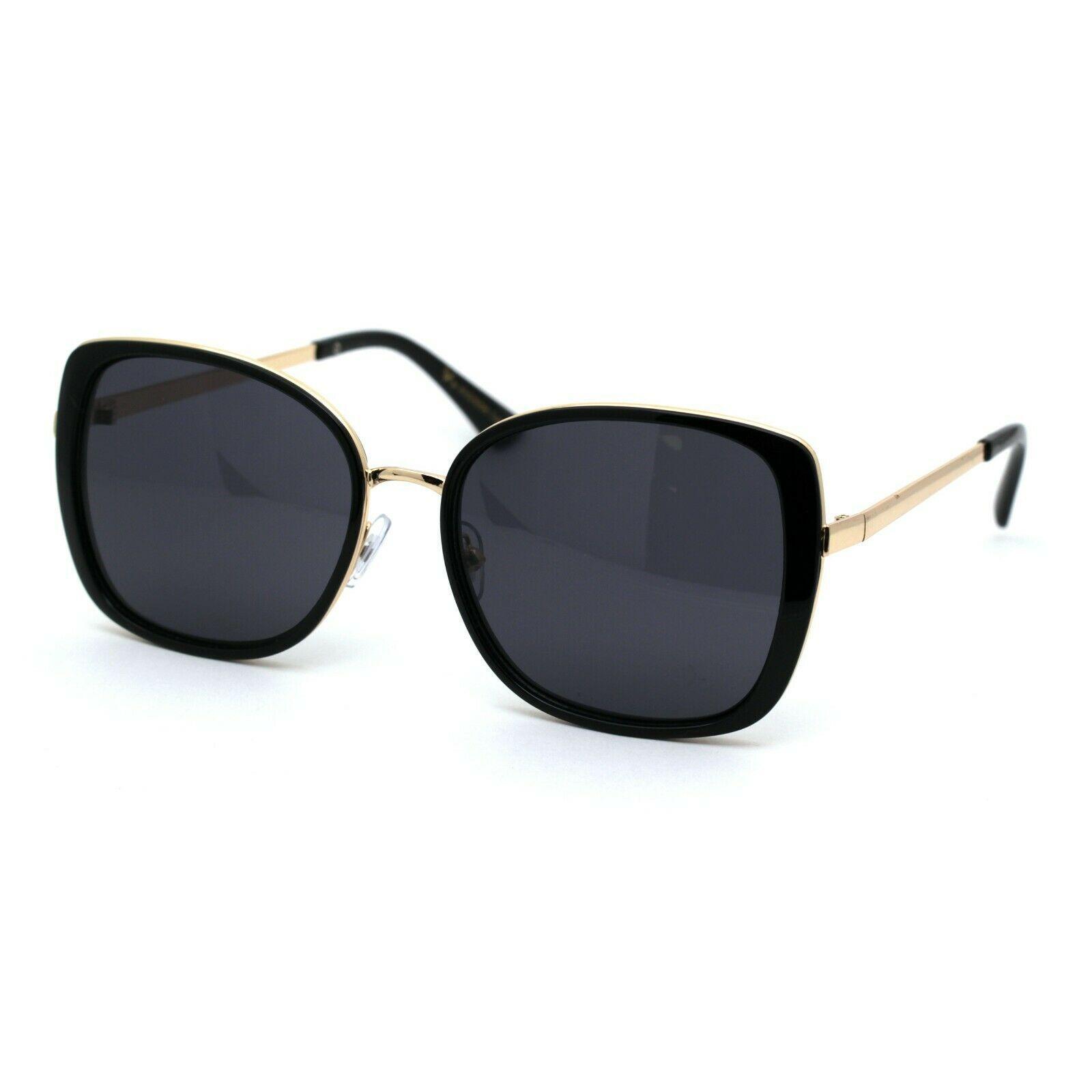 Womens Double Rim Chic Designer Rectangular Cat Eye Sunglasses