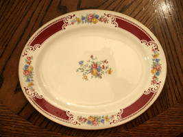"Homer Laughlin Lady Alice Red Floral Platter Gold Trim 11 3/4"" VG Rare V... - $39.56"