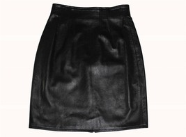 EREZ Lined Super Soft Comfy Knee Length Black Leather Skirt 8 Upper Dart... - $38.99