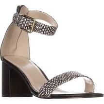 Cole Haan Clarette II Ankle Strap Sandals, Black Leather/Snake, 7.5 US - $61.43