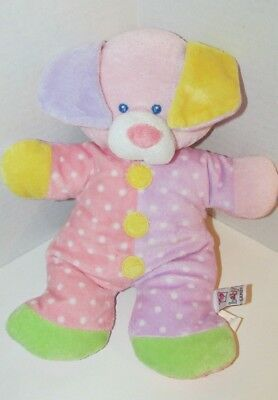 Primary image for baby Ganz plush Snuggles puppy dog rattle pink purple yellow green polka dots