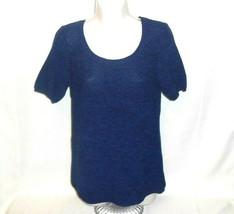 Gap Shirt Knit Top Sweater Women Size M Cobalt Blue Short Sleeve Scoop Neck - $9.87