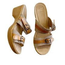 Dansko Jessie Brown Lizard Print Leather Double Adjustable Strap Sandal ... - $39.59