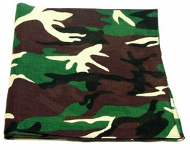 "Novelty Bandanas By The Dozen 100% Cotton 12-Pack 22"" x 22"" - Army Camo - $12.18"