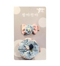 Beautiful Baby Girls Hair Clips Barrettes Hair Pins 2 pieces, Knitted Flowers