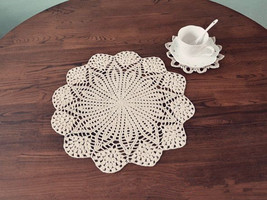 "2 pcs of 15"" Round Centerpieces for wedding, hand crochet round doilies ... - $16.90"