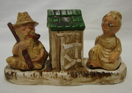 Rare Salt Pepper Shakers Old Hillbilly Man Woman Outhouse Hong Kong Vintage - $39.17