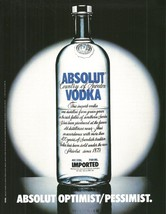 Absolut OPTIMIST/PESSIMIST Vodka Magazine Ad Hard To Find! - $14.99