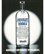 ABSOLUT OPTIMIST/PESSIMIST Vodka Magazine Ad HARD TO FIND! - $14.99