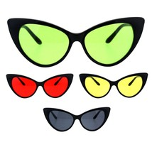 Womens Pop Color Lens Classic Plastic Cat Eye Goth Sunglasses - $12.95
