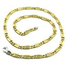 18K YELLOW WHITE GOLD CHAIN 5mm ALTERNATE GOURMETTE CUBAN BURB SQUARE LI... - $4,018.00