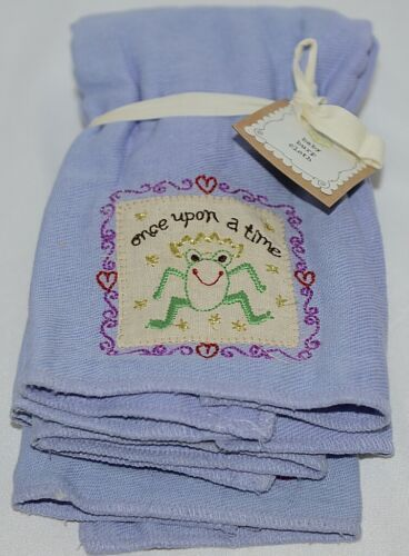 Natural Life Brand BB002 Once Upon A Time Lavender Green Frog Baby Burp Cloths