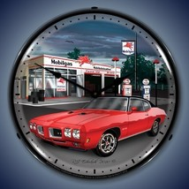 New old 1970 Pontiac GTO muscle car & Mobilgas Station LIGHTED clock USA... - $129.95