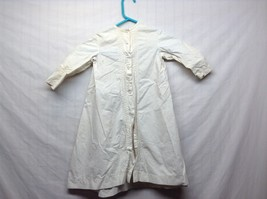 Vintage Off White Linen Button Up Baby Dress