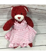 Build A Bear Workshop Sweet Hugs & Kisses Plush Love Teddy Pink Plaid Dress - $32.18