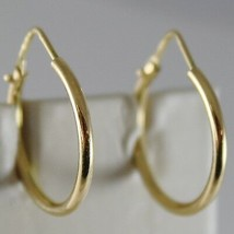 18K YELLOW GOLD EARRINGS LITTLE CIRCLE HOOP 19 MM 0.75 IN DIAMETER MADE IN ITALY image 1