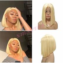 613 Blonde Bob Wigs 13x4 Lace Front 180% Density Brazilian Human Hair St... - $74.92