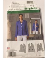 Simplicity 2446 Misses Lined Jacket Size 16-18-20-22-24 UNCUT Sewing Pattern - $9.87