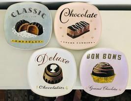"Sakura Confections 4 Stoneware Dessert Plates 8"" Rounded Square Bon Bons - $38.52"