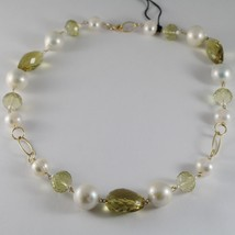 18K YELLOW GOLD NECKLACE BIG PEARLS CUSHION LEMON & BROWN QUARTZ MADE IN... - $759.05
