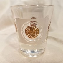 "Vtg Mid Century Medallion Shot Glass White Gold Anchor Hocking 2-1/4"" - $10.40"