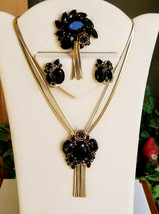 Vintage Black Rhinestone Necklace, Brooch and Earring Set With Tassels - $85.00