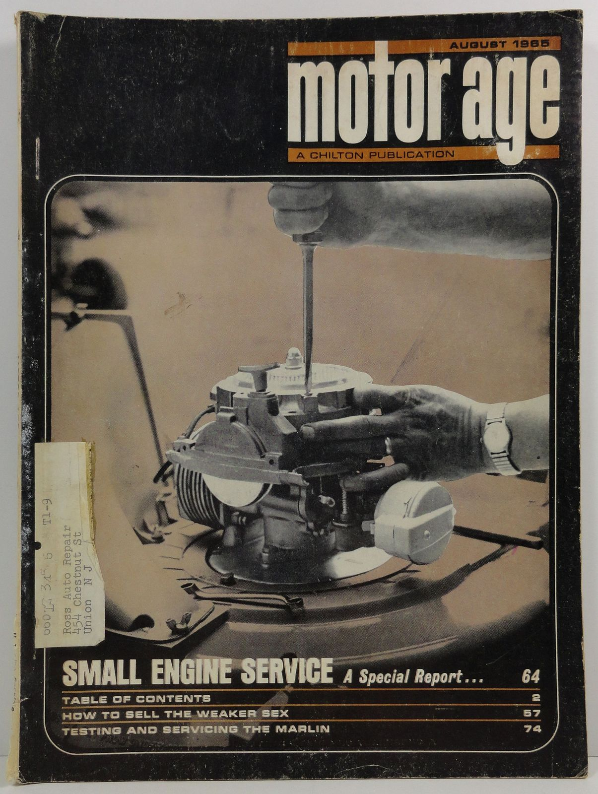 Motor Age August 1965 A Chilton Publication Small Engines Service