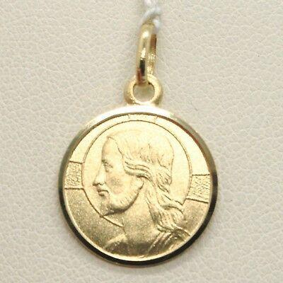 CIONDOLO MEDAGLIA ORO GIALLO 750 18K, CRISTO REDENTORE, JESUS, 15 MM DIAMETRO