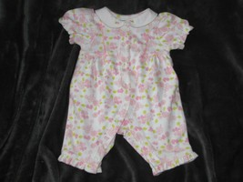 Vintage Preemie Newborn Gymboree 2000 Pink White Green Tropical Flower Romper - $41.57