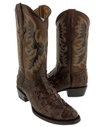 Mens Brown Crocodile Back Pattern Cowboy Boots Round Toe Rodeo Botas - $139.99
