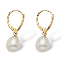 Cultured Freshwater Pearl Drop Earrings 14k Yellow Gold - $83.99
