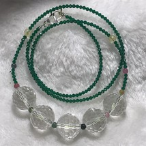 Natural Quartz Crystal 128 Sided Bound beads Necklace Reiki Healing J052914 - $15.79