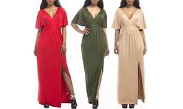 Women's Plus Size Short Sleeve Slit Wrap V-Neck Gowns Maxi Dress - $39.99