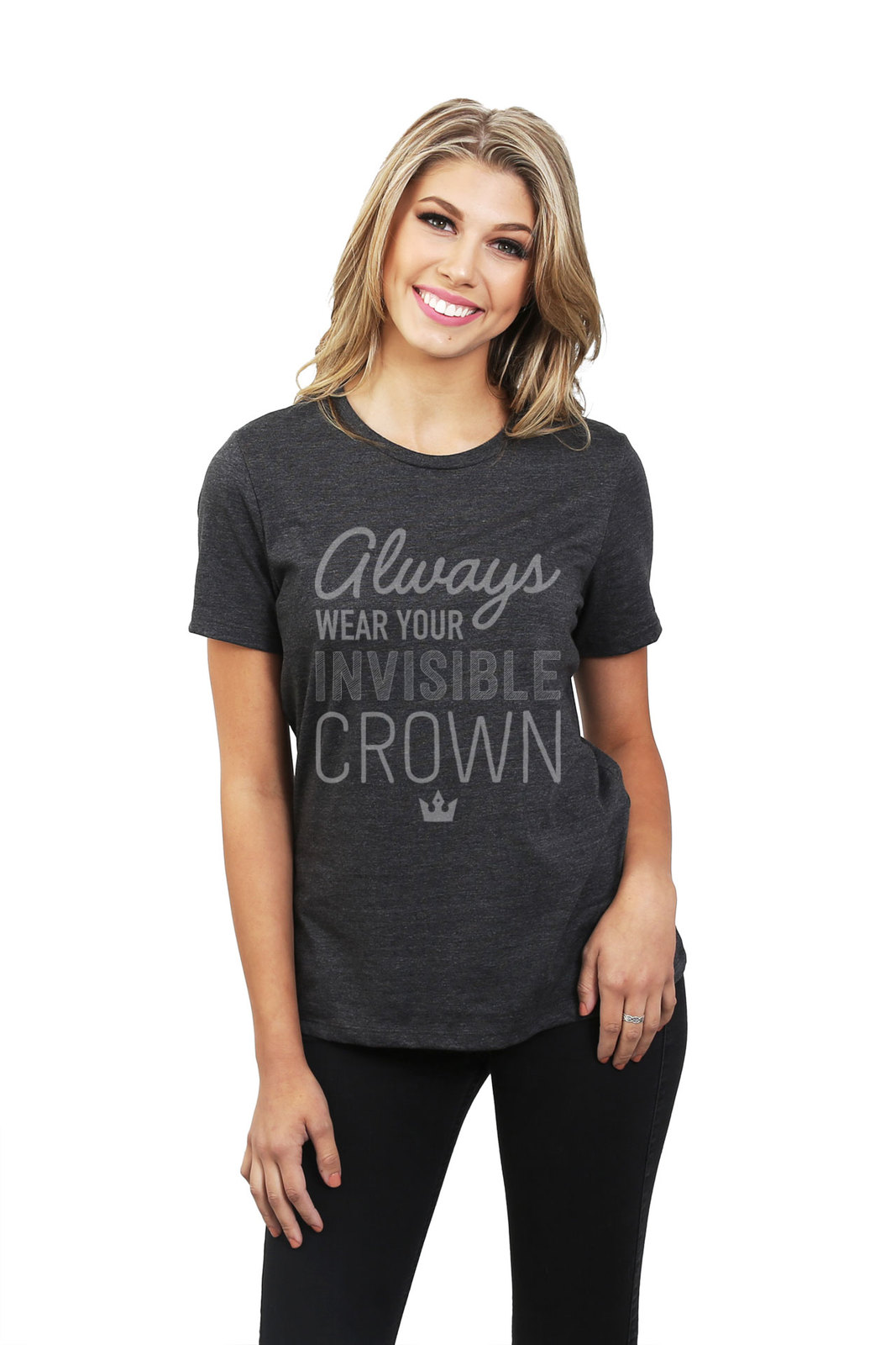 Always Invisible Crown Women's Relaxed T-Shirt Tee Charcoal Grey