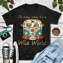 Hippie Girl Oh Baby Baby It's A Wild World Ladies T-Shirt Black Cotton S... - £15.28 GBP