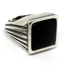 Men's Ring Silver 925, Polished Burnished, Onyx Squared Cabochon, Adjust... - $119.30
