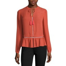 a.n.a Long-Sleeve Peplum Blouse Size PM New Baked Apple Msrp $36.00 - $14.99