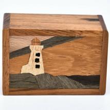 Northwoods Wooden Parquetry Nautical Ocean Marine Lighthouse Mini Trinket Box image 2