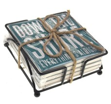 Down The Shore Stone Coasters Set 4 Wire Holder Primitives By Kathy Love... - $8.59