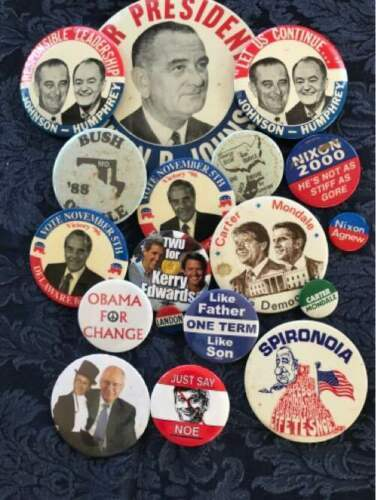 Lot of 18 Political Buttons Pinback Nixon Johnson Obama Carter Dole Bush Agnew