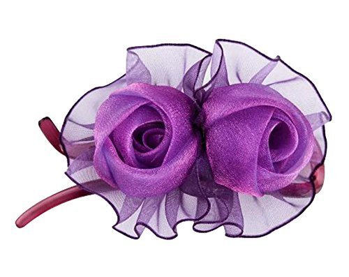[Pure Purple] Double-Rose Hair Styling Tool Barrette & Ponytail Holder Hair Clip