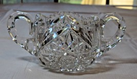 Vintage Clear Glass Sugar Bowl Scalloped edges star double handle RARE~ - $20.78