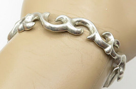925 Sterling Silver - Vintage Smooth Baroque Style Cuff Bracelet - B4390 - $47.22