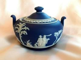 Antique c 1894 Wedgwood Jasper Dip Cobalt Blue Sugar Bowl Excellent Condition - $77.00