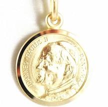 SOLID 18K YELLOW GOLD SAINT POPE JOHN PAUL II, DIAMET. 17 MM MEDAL MADE IN ITALY image 1