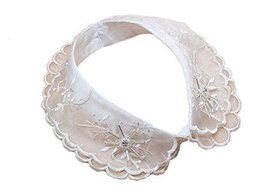 Retro Elegant Lace Beads Detachable False Collar Stand Collar-White Diamond